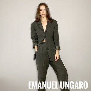 Emanuel ungaro wool suit with high waisted pants.